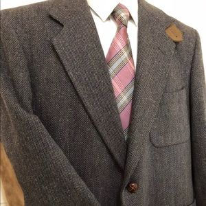 Vtg Wool Tweed ELBOW PATCHES blazer 40 S jacket